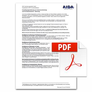 Einwilligungserklärung zur Datenverarbeitung und Kontaktaufnahme / Werbung als PDF herunterladen